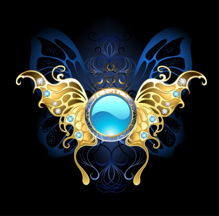 Bandera azul con alas de mariposa joyas de oro sobre un fondo negro.