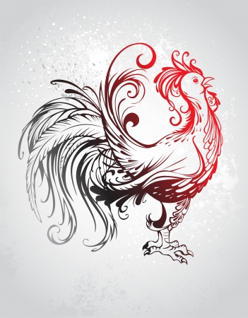 artistically: artistically painted red rooster with a black tail with a gray background.