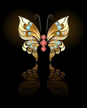 butterfly jewelry made ​​of gold, adorned with precious round stones on a dark background.