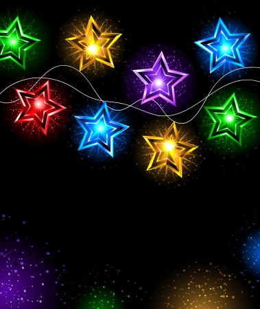 Electric garland colored lamps in the shape of stars on a black background Illustration