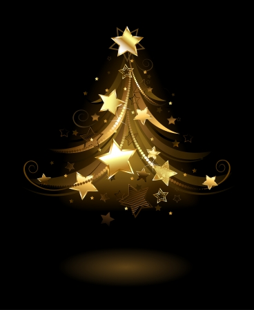 christmas holiday background: artistically painted golden spruce, decorated with gold stars on a black background.