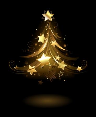 ster: artistiek geschilderde gouden spar, versierd met gouden sterren op een zwarte achtergrond. Stock Illustratie