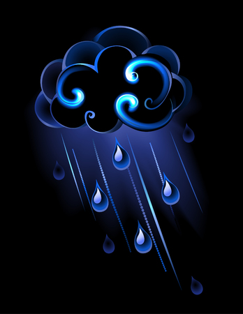 glowing rain clouds with drops of water on black background. Vector