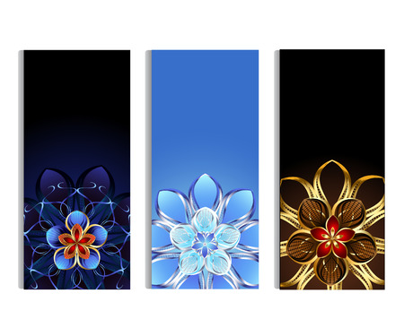 three vertical banner decorated with gold and silver abstract flowers with blue, brown and light background Illustration