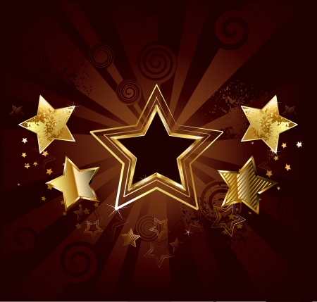 dark star with  gold stars on old brown background Stock Vector - 23476681