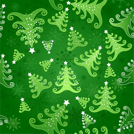 Green seamless background with snowflakes and green stylized Christmas trees decorated with white stars . Vector
