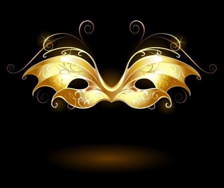 carnival mask: golden mask Illustration