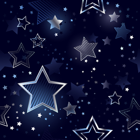 blue, night, seamless background with shiny, silver stars.