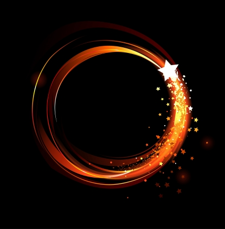 warmness: round, abstract banner of red fire and stars on a black background  Illustration
