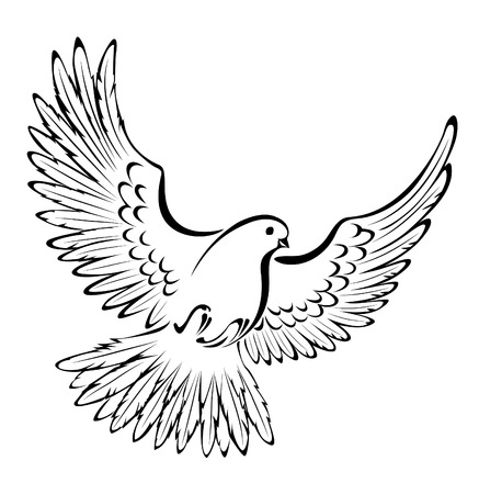 black beak: artistically painted, stylized, flying dove on a white background.
