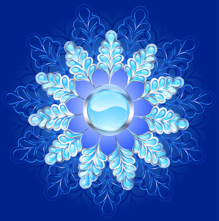 silver frame: Round banner of blue ice, decorated with a frame of silver and frost.