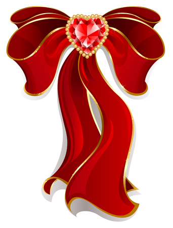 luxurious stylized bow of red silk, decorated with heart shaped ruby and gold beads.  Vector