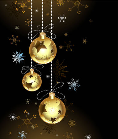 Gold Christmas baubles on a brown background with snowflakes Illustration