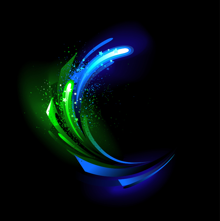abstract background with green and blue glowing crystal on a black background.