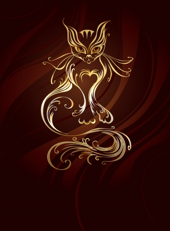 artistically: artistically painted with gold cat with a long tail, on a brown, striped background.