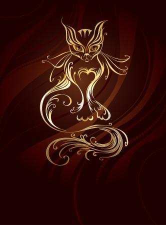 Artisticamente dipinto con gatto d'oro con una lunga coda, su un marrone, sfondo a righe. Archivio Fotografico - 23506122