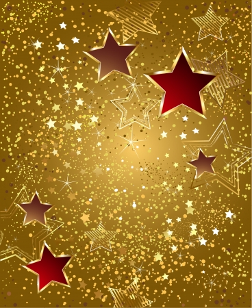 background of gold foil with red and gold stars    Vector