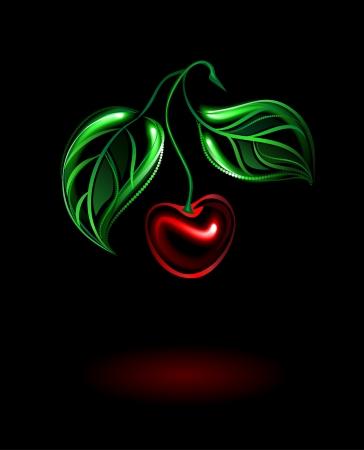 Черное с красными вишнями