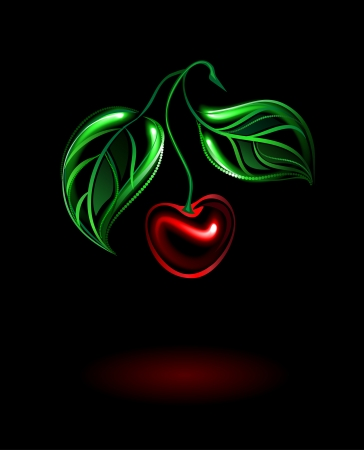 sour cherry: glowing red cherries with green leaves on a black background Illustration