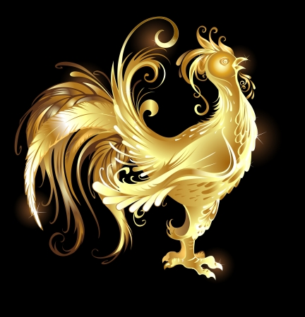 artistically painted rooster gold on a dark background.  Vector