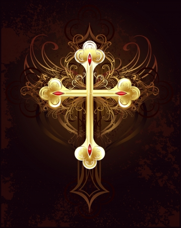 gold filigree cross worn on a brown dark background.