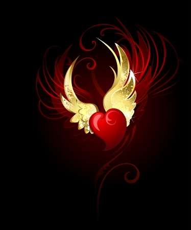 artistically painted red heart with wings of gold foil. Çizim