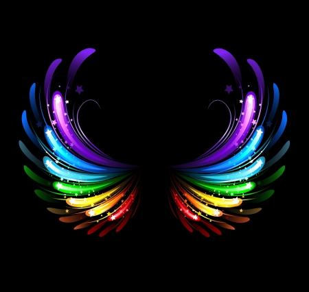 Flügel, mit bunten funkelt auf einem schwarzen Hintergrund gemalt