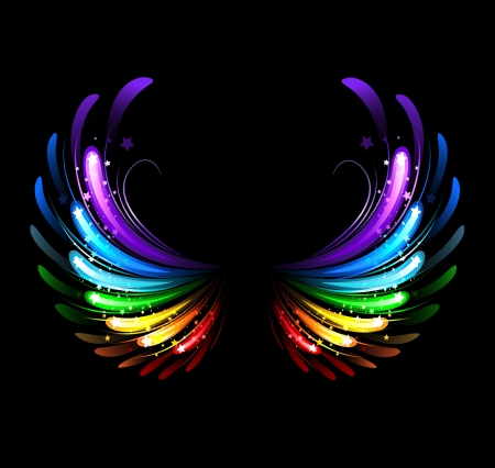 wings, painted with colorful sparkles on a black background Illustration