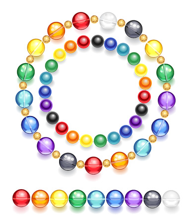 colorful beads: two necklaces of transparent and opaque beads, made of colored glass