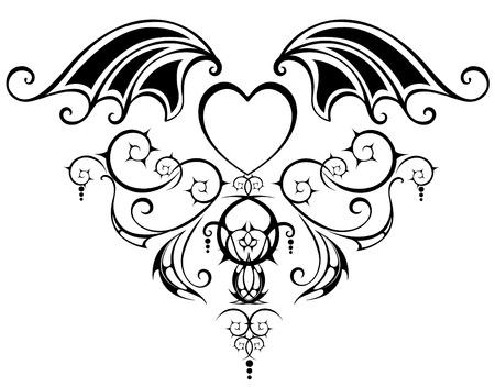 corazon con alas: patr�n con el coraz�n estilizado de los vampiros y webby alas del drag�n, adornado con los tallos giradas sobre un fondo blanco.
