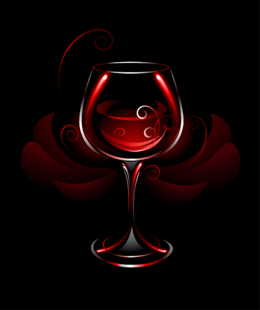 artistically: artistically painted, glowing glass with red wine on a black background, decorated with abstract red flower.