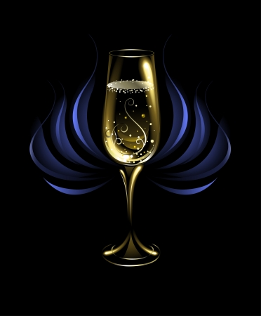 artistically painted, tall, glowing with a golden champagne glass on a black background, decorated with abstract blue flower. Illustration