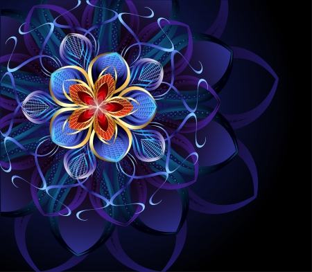 luxurious, abstract blue flower on a dark glowing background.  Vector