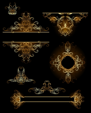 gilding: gold, jewelry, vector design elements on a black background.