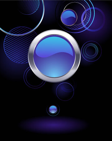 dark background with glowing rings and glass blue banner