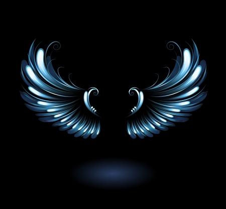 gloeiende, gestileerde engel vleugels op een zwarte achtergrond.