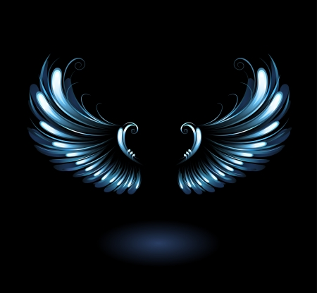 glowing, stylized angel wings on a black background. Vector