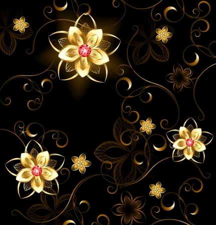 fondo cafe: patr�n de flores doradas con rub�es brillantes sobre un fondo marr�n