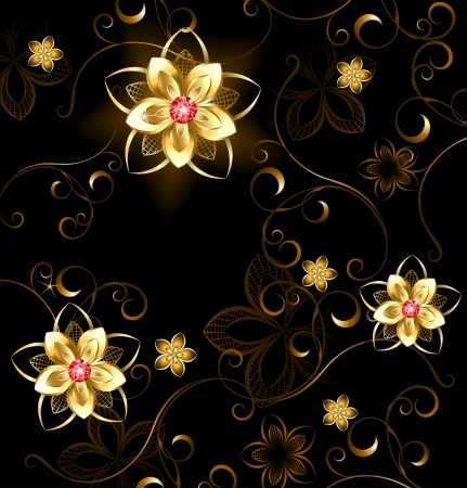 pattern of gilded flowers with bright rubies on a brown background