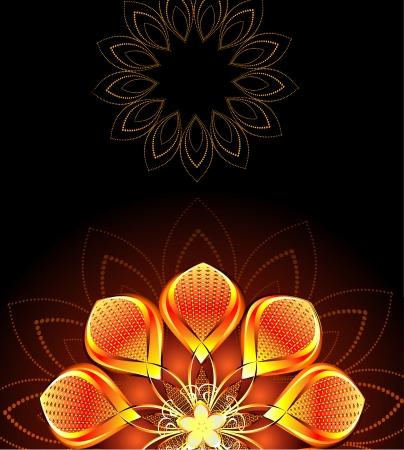 abstract, gold, bright flower on dark background