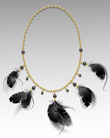 gold chain with black feathers and beads on a gray background.  Illustration