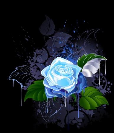 blauwe roos met groene bladeren op een zwarte achtergrond bespat met verf.