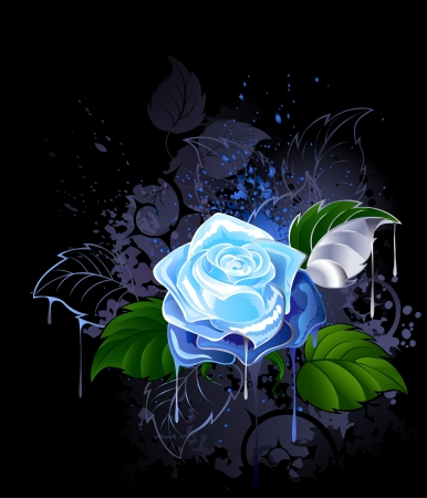 blue rose: blue rose with green leaves on a black background spattered with paint.  Illustration