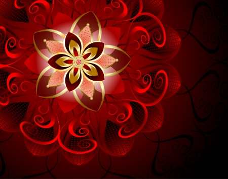 inlay: luxurious, abstract, red flower on a dark background.