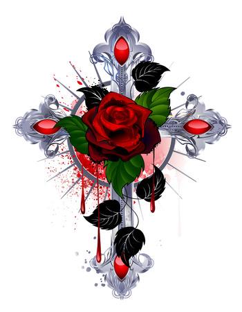 cruz roja: cruz de plata con una rosa roja y hojas negras sobre un fondo blanco.