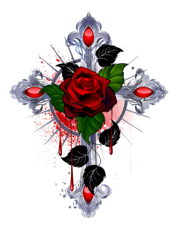 silver cross with a red rose and black leaves on a white background. Illustration