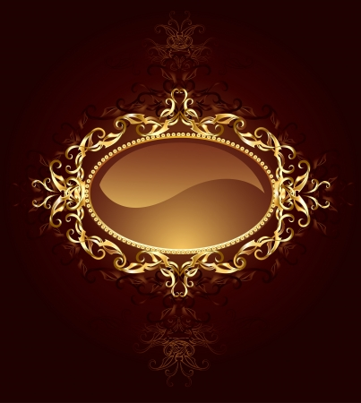 oval banner are decorated in jewelry, gold pattern on a dark brown background.  Illustration