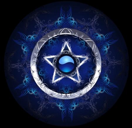 Místico, azul, estrella de plata con dibujos sobre un fondo negro. Foto de archivo - 23506216