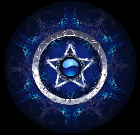 pentagram: mystical, blue, patterned silver star on a black background.