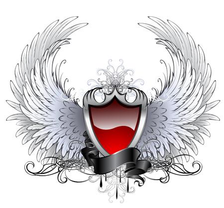 alas de angel: escudo rojo con plata alas de ángel estilizadas y cinta oscura sobre un fondo blanco.